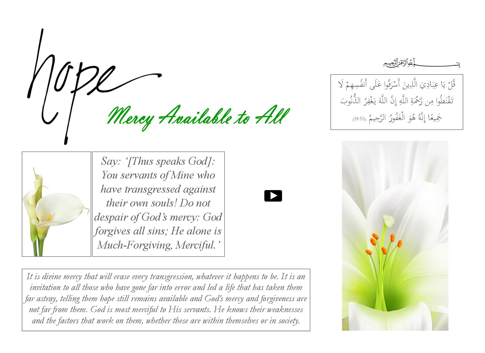 Hope - Mercy Available to All